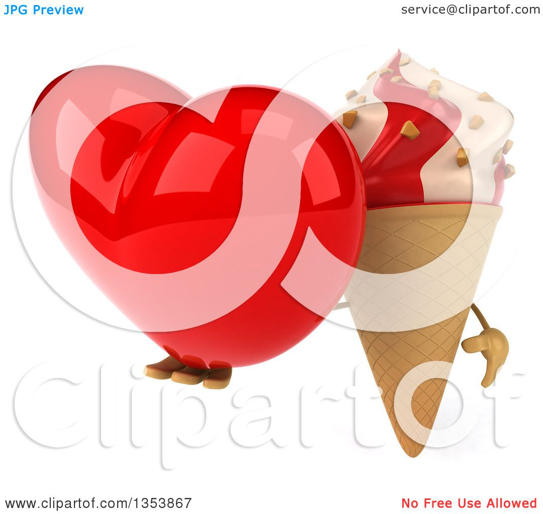 Ice Cream Cones Background Royalty Free Vector Image: Clipart Of A 3d Strawberry And Vanilla Swirl Waffle Ice