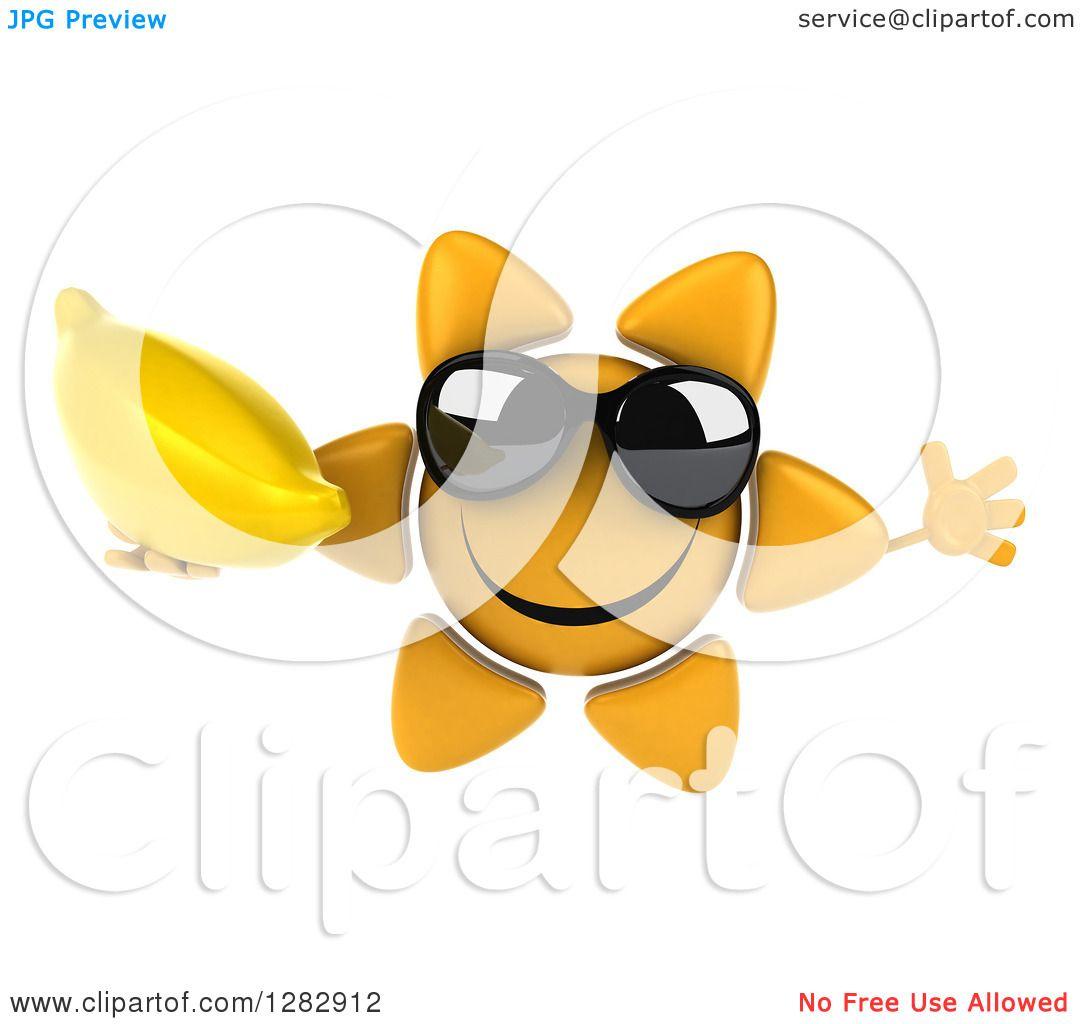 6891342d62 Clipart of a 3d Sun Character Wearing Sunglasses
