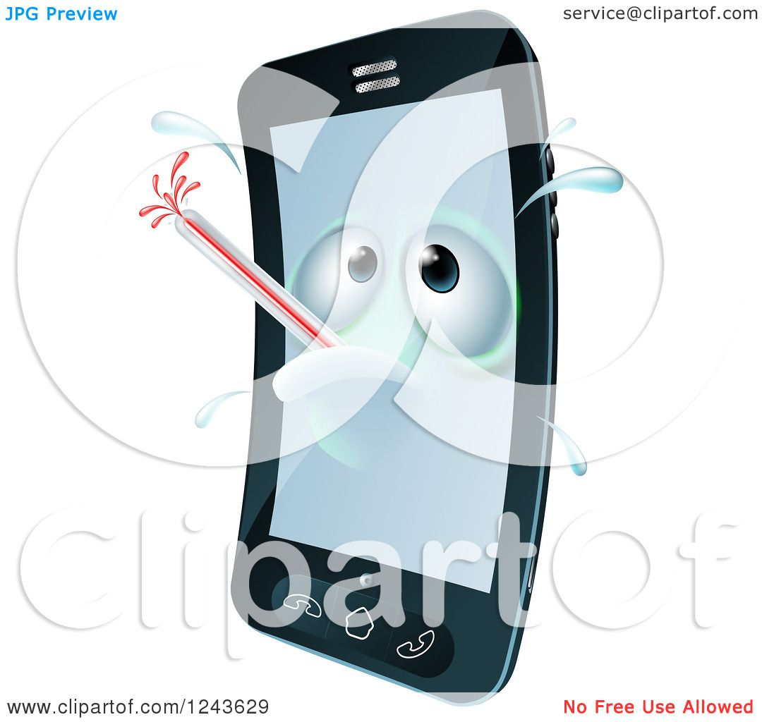 Clipart of a 3d Sweaty Cell Phone Character Sick with a ...
