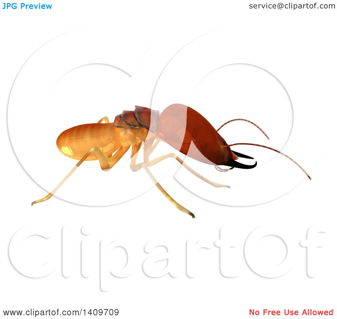 Clipart of a 3d Termite in Profile, on a White Background - Royalty ...