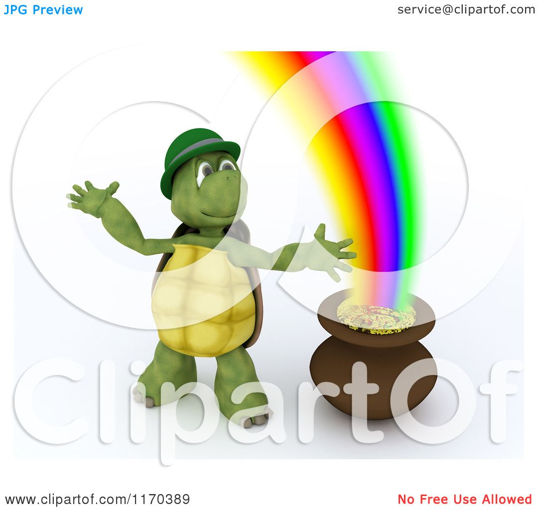 Clipart of a 3d Tortoise Leprechaun by a Pot of Gold at the End of ...
