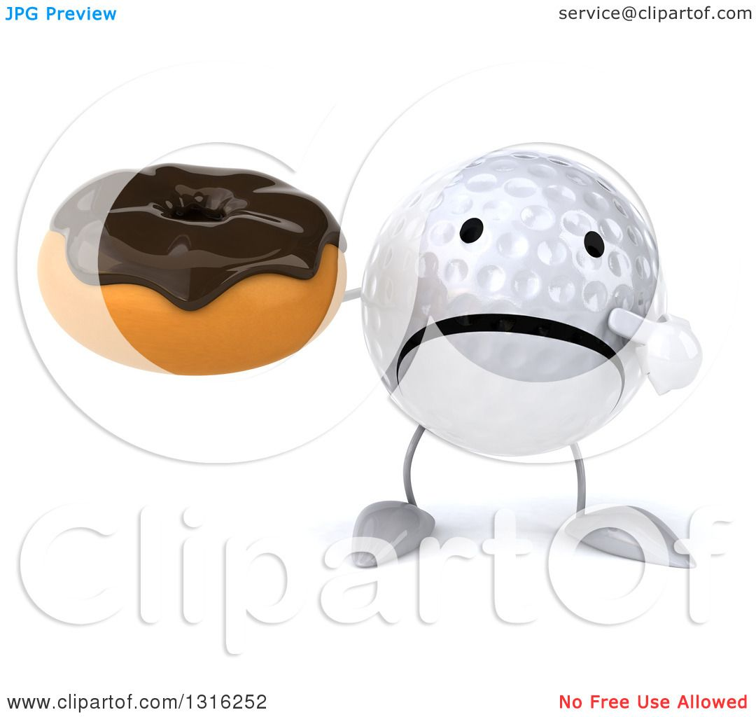 Clipart Of A 3d Unhappy Golf Ball Character Holding And