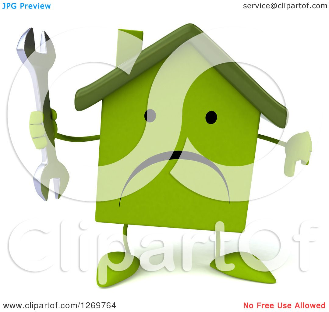 Clipart Of A 3d Unhappy Green House Character Holding A