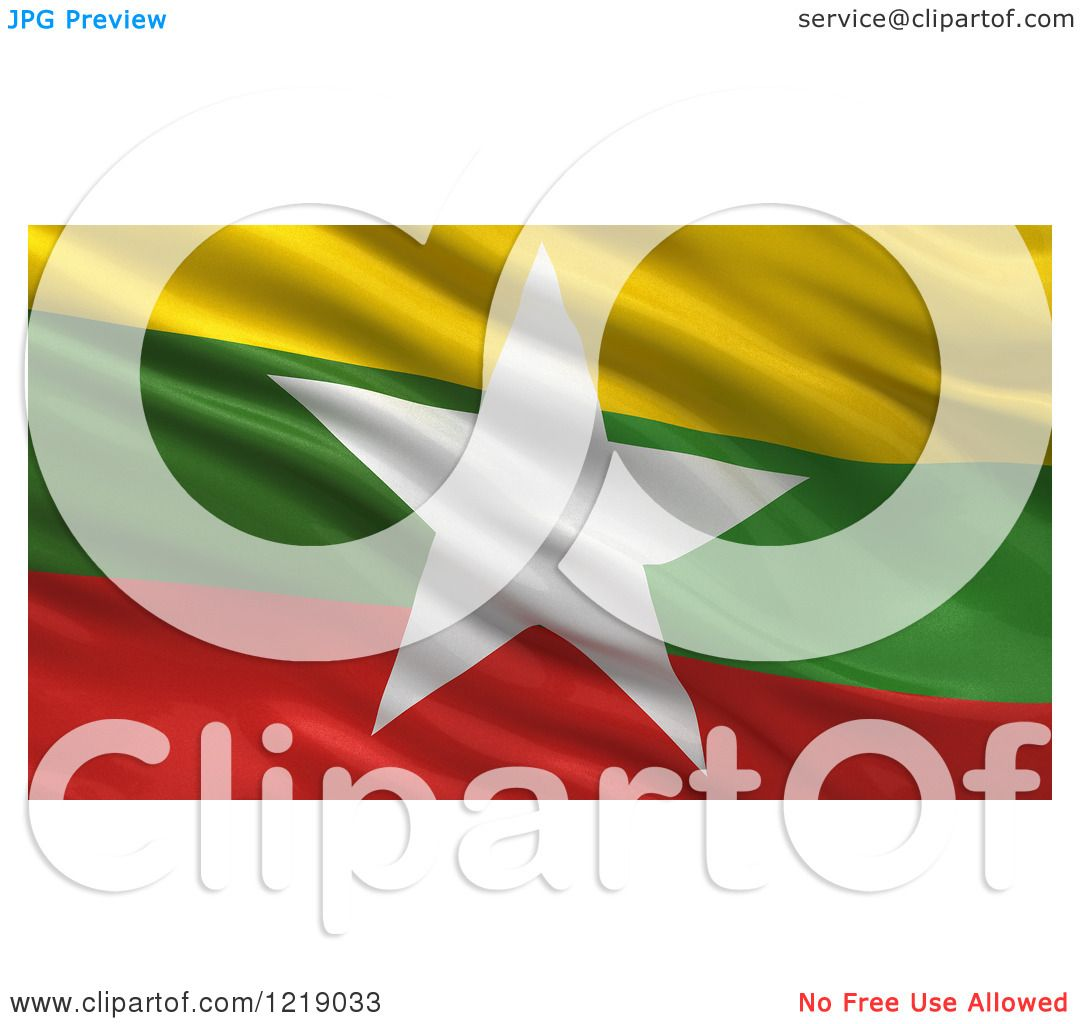 Clipart of a 3d Waving Flag of Myanmar with Rippled Fabric - Royalty Free Illustration ...