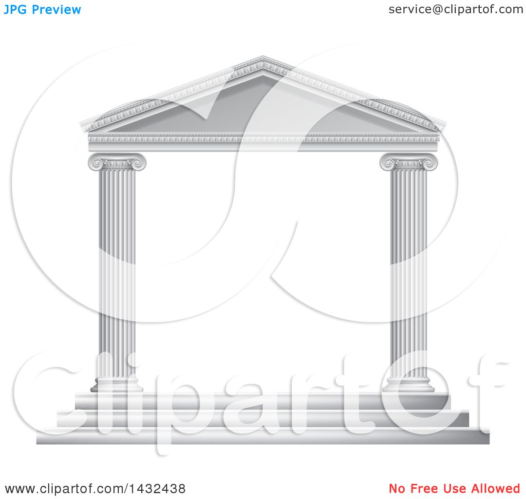d2c1e2ac623b Clipart of a 3d White Ancient Roman or Greek Temple with Pillars Frame -  Royalty Free