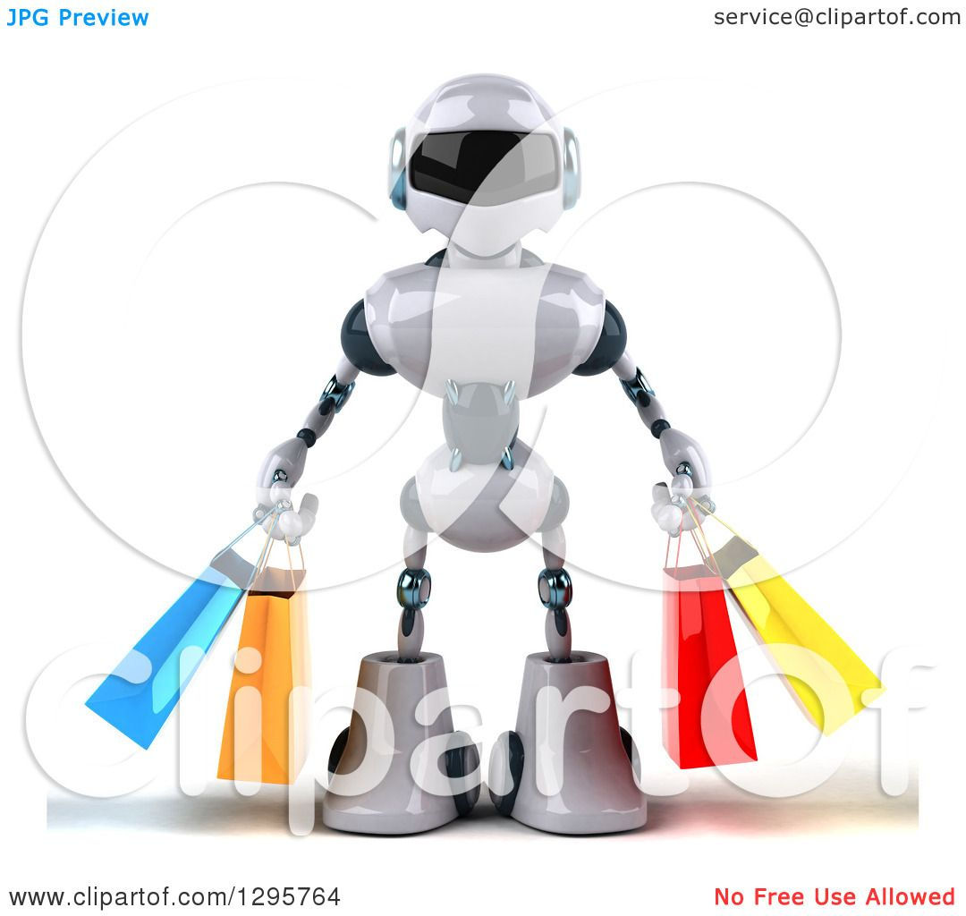 Clipart of a 3d White and Blue Robot Carrying Shopping Bags