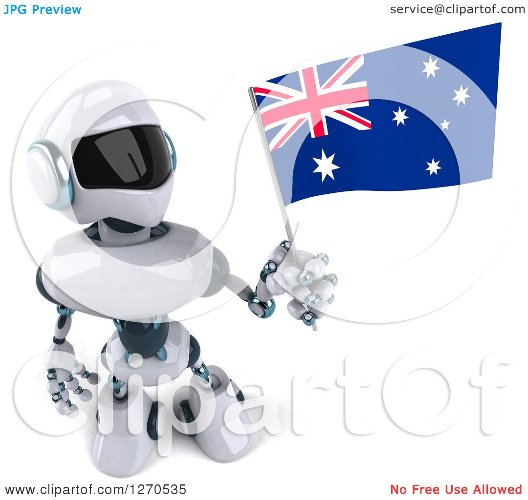 Clipart Of A 3d White And Blue Robot Holding Up And Looking At An