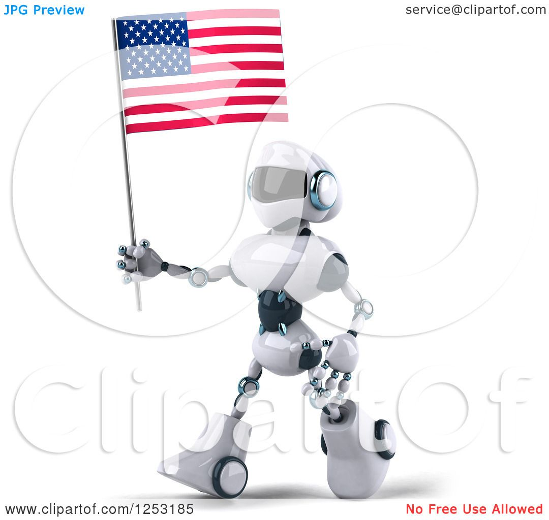 Clipart Of A 3d White And Blue Robot Walking With An American Flag