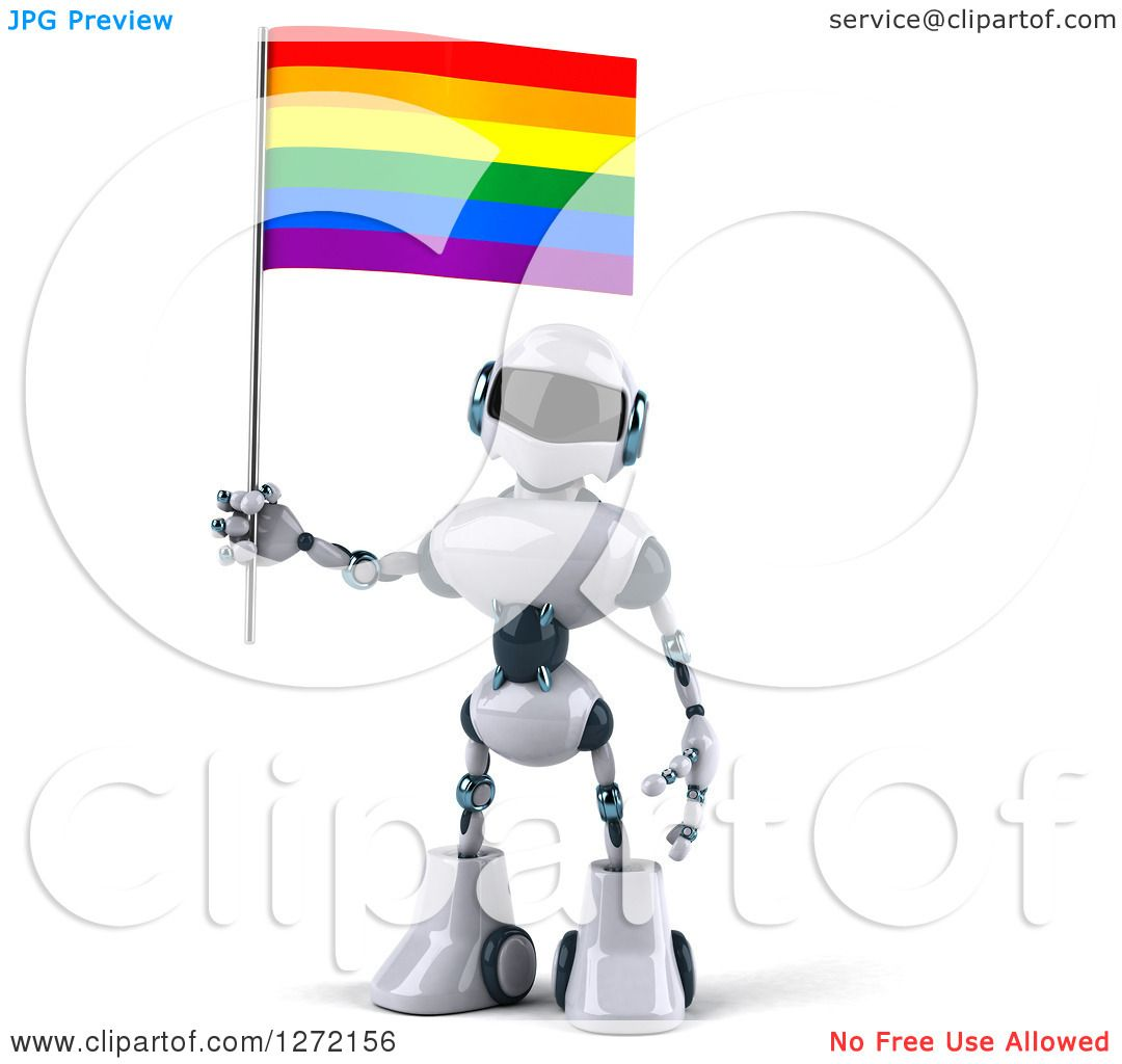Clipart Of A 3d White And Blue Robot With A Rainbow Lgbt