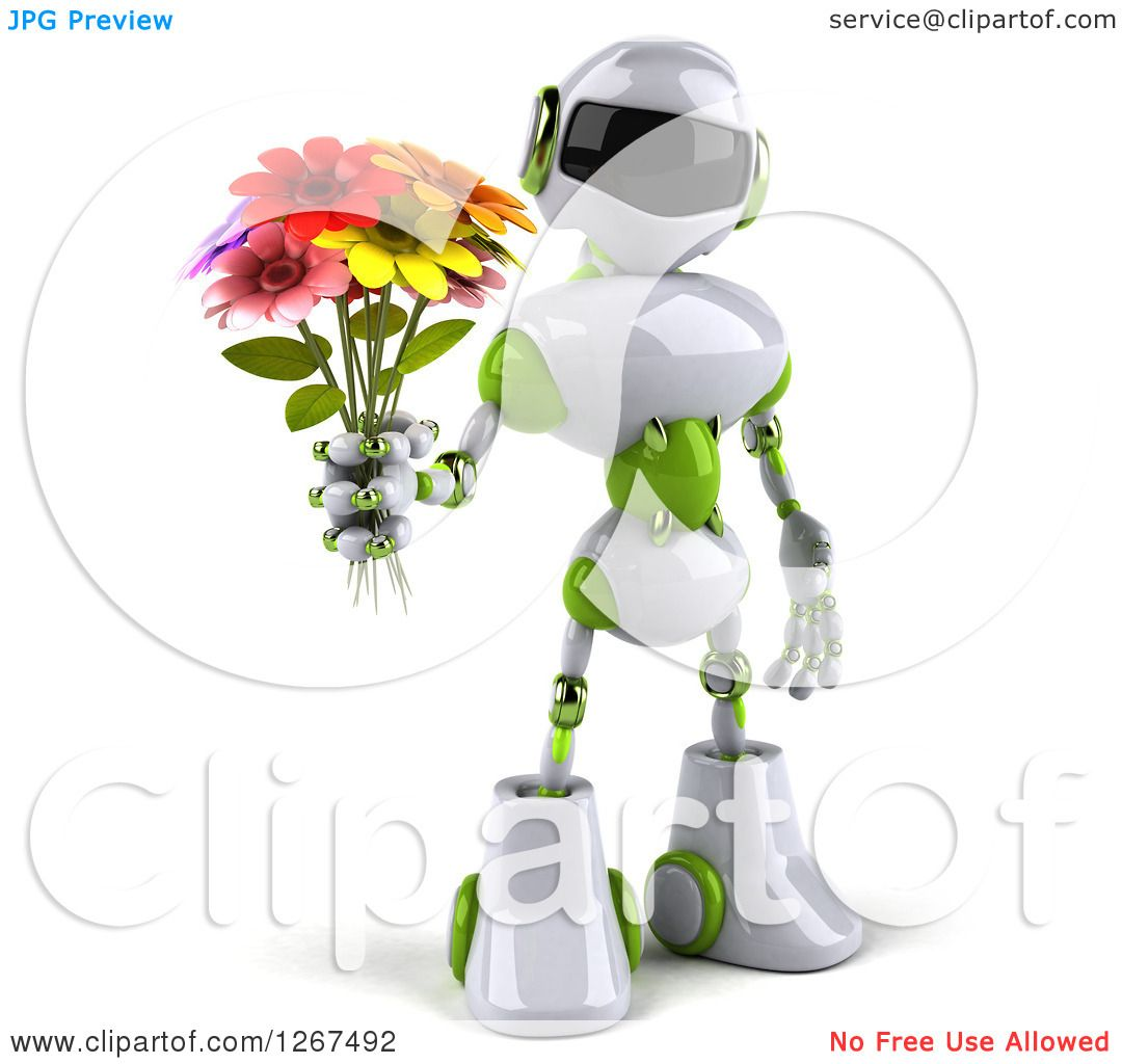 Clipart of a 3d White and Green Robot Holding a Flower Bouquet ...