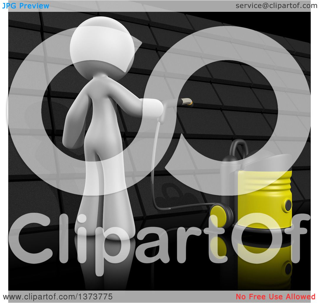 Clipart Of A 3d White Cleaning Lady Cleaning A Roof On A