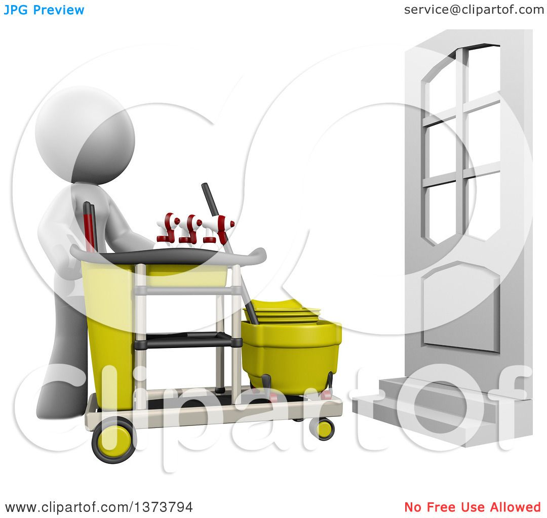 clipart of a 3d white cleaning lady with a cart on a white rh clipartof com cute cleaning lady clipart cleaning lady clipart black and white