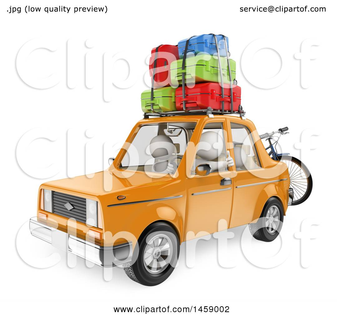 Clipart Of A 3d White Family Going On Vacation In Their Car Background