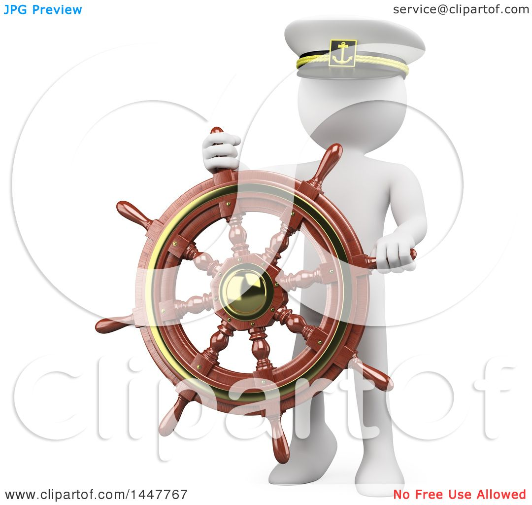 Clipart Of A 3d White Man Captain With A Helm Steering