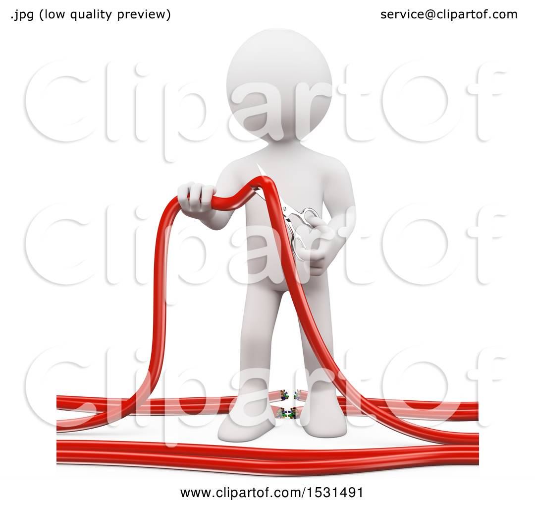 Clipart of a 3d White Man Cutting Wires with Scissors, on a White ...