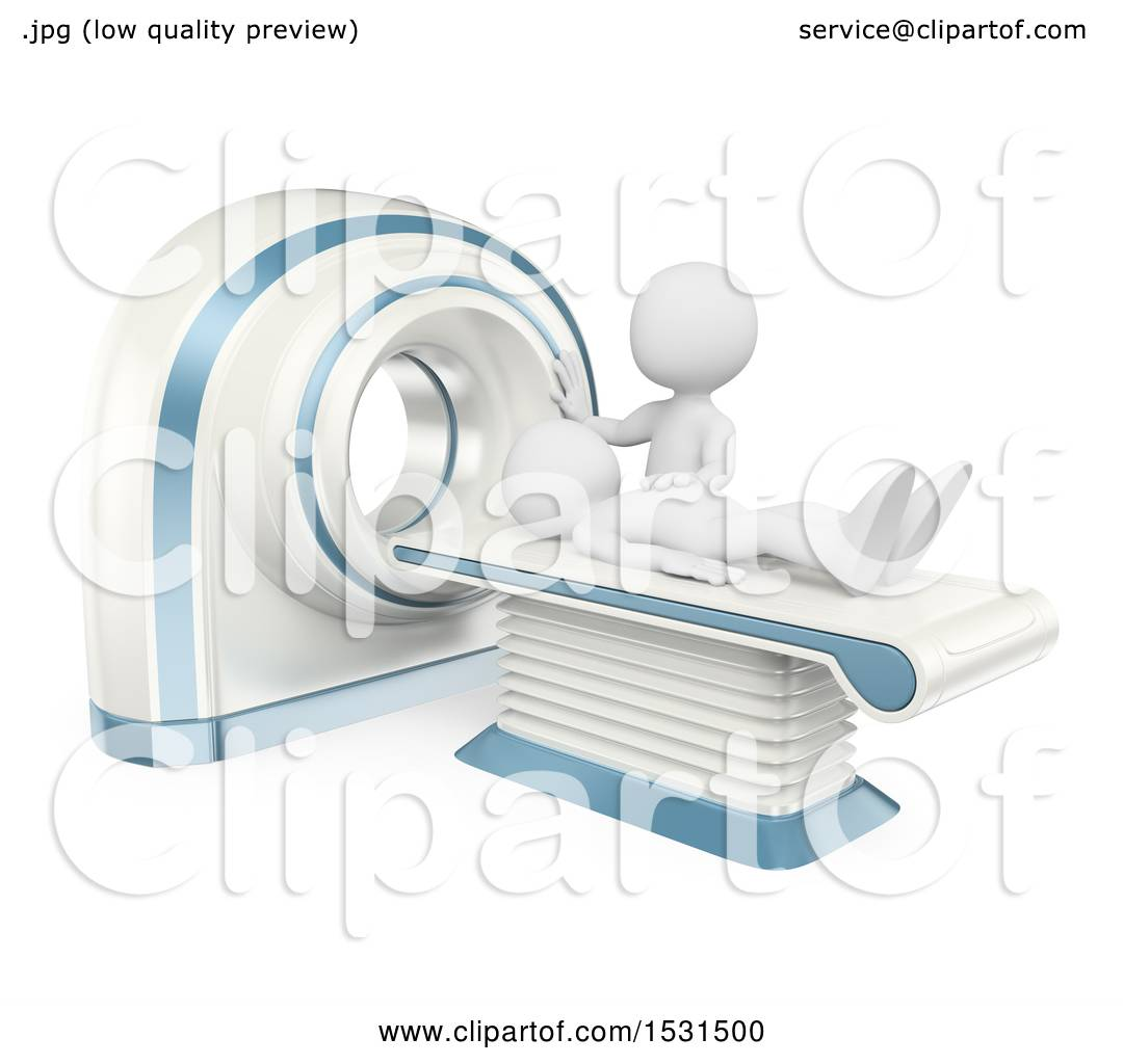 Clipart Of A 3d White Man Getting A Ct Scan, On A White