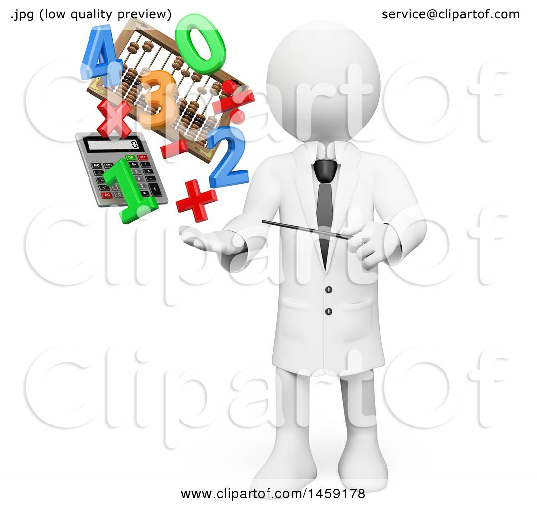 Clipart Of A 3d White Man Teacher With Math Items And