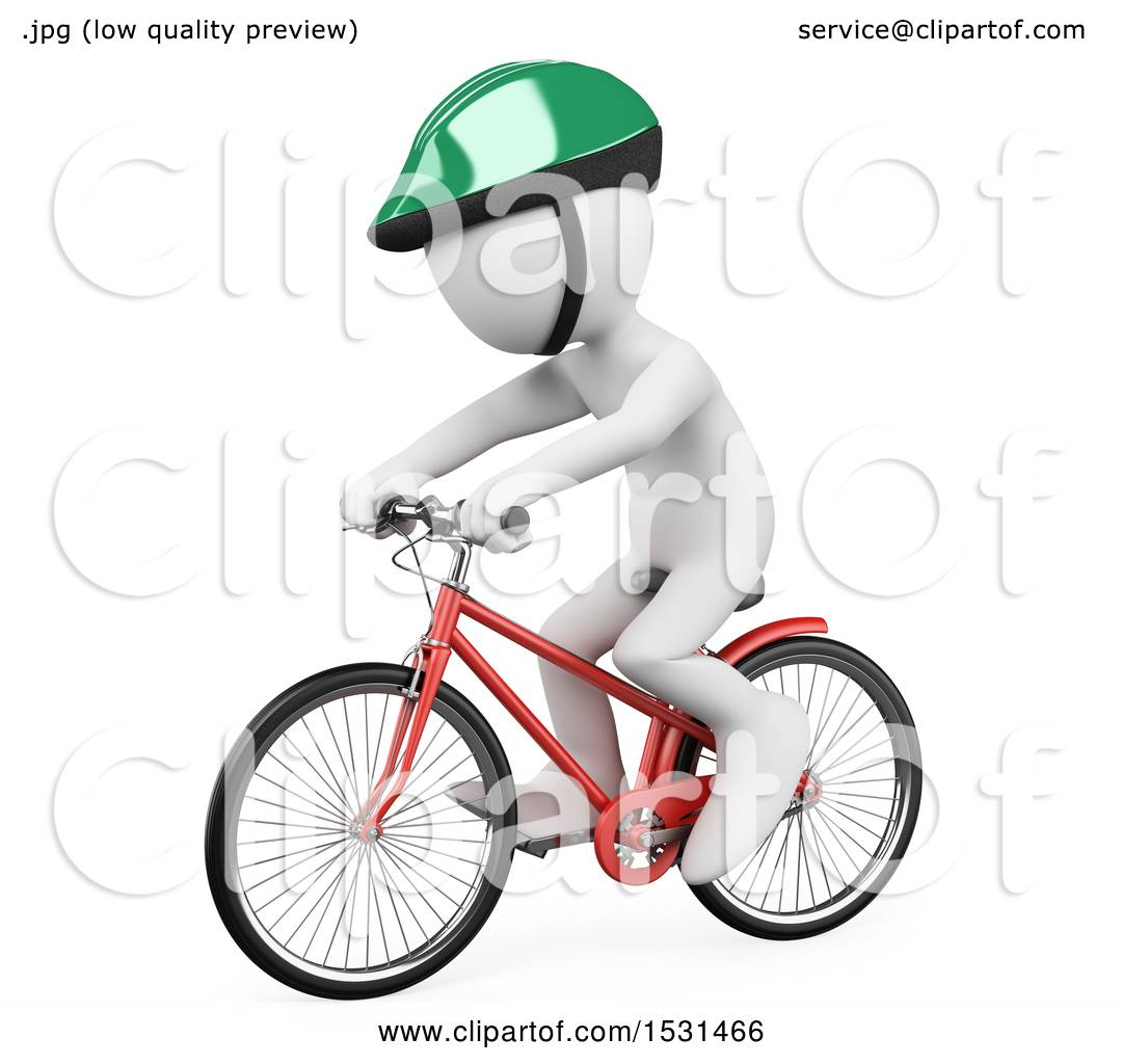 Clipart of a 3d White Man Wearing a Helmet and Riding a Bike