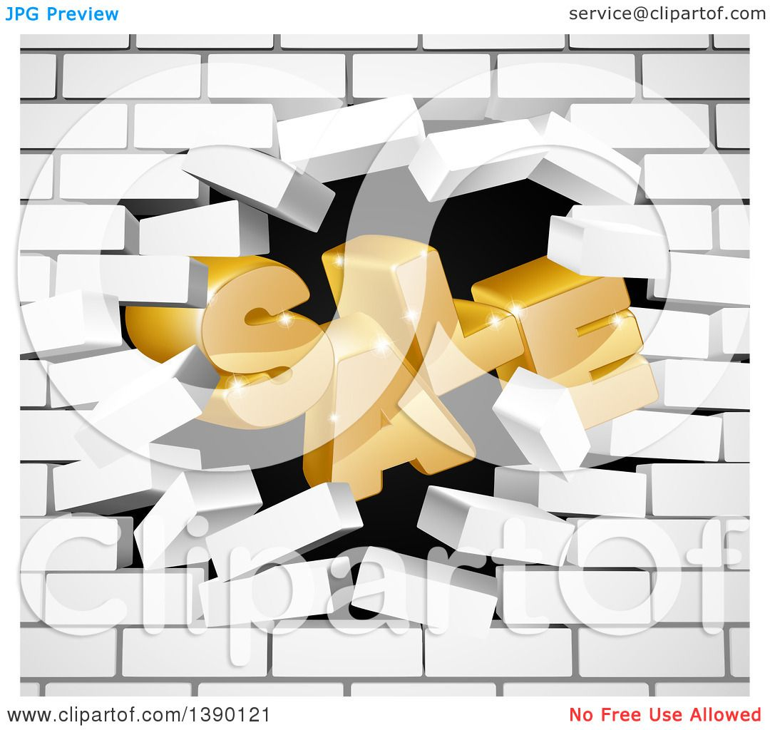 Clipart of a 3d Word, SALE, Crashing Through a White Brick Wall ...
