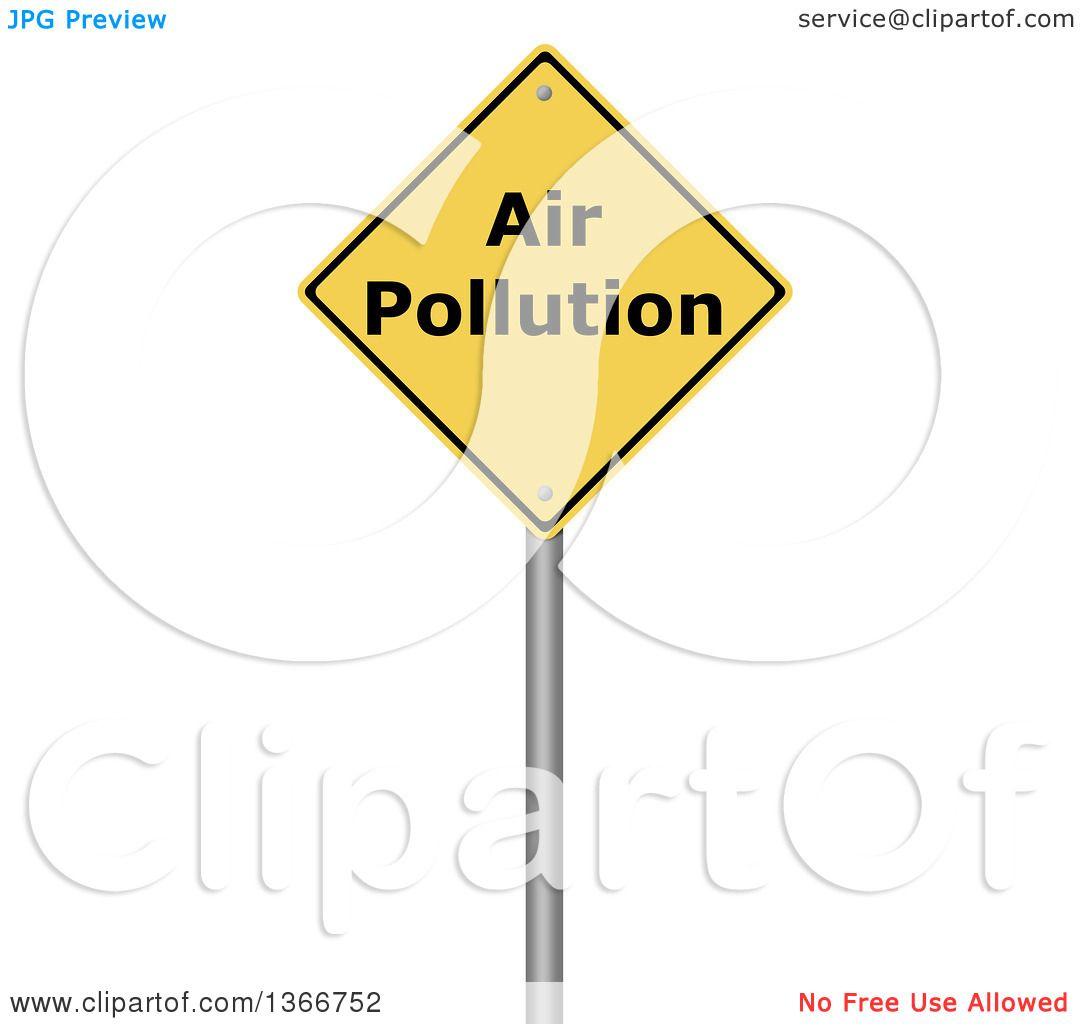 Clipart of a 3d Yellow AIR POLLUTION Warning Sign, on White ...