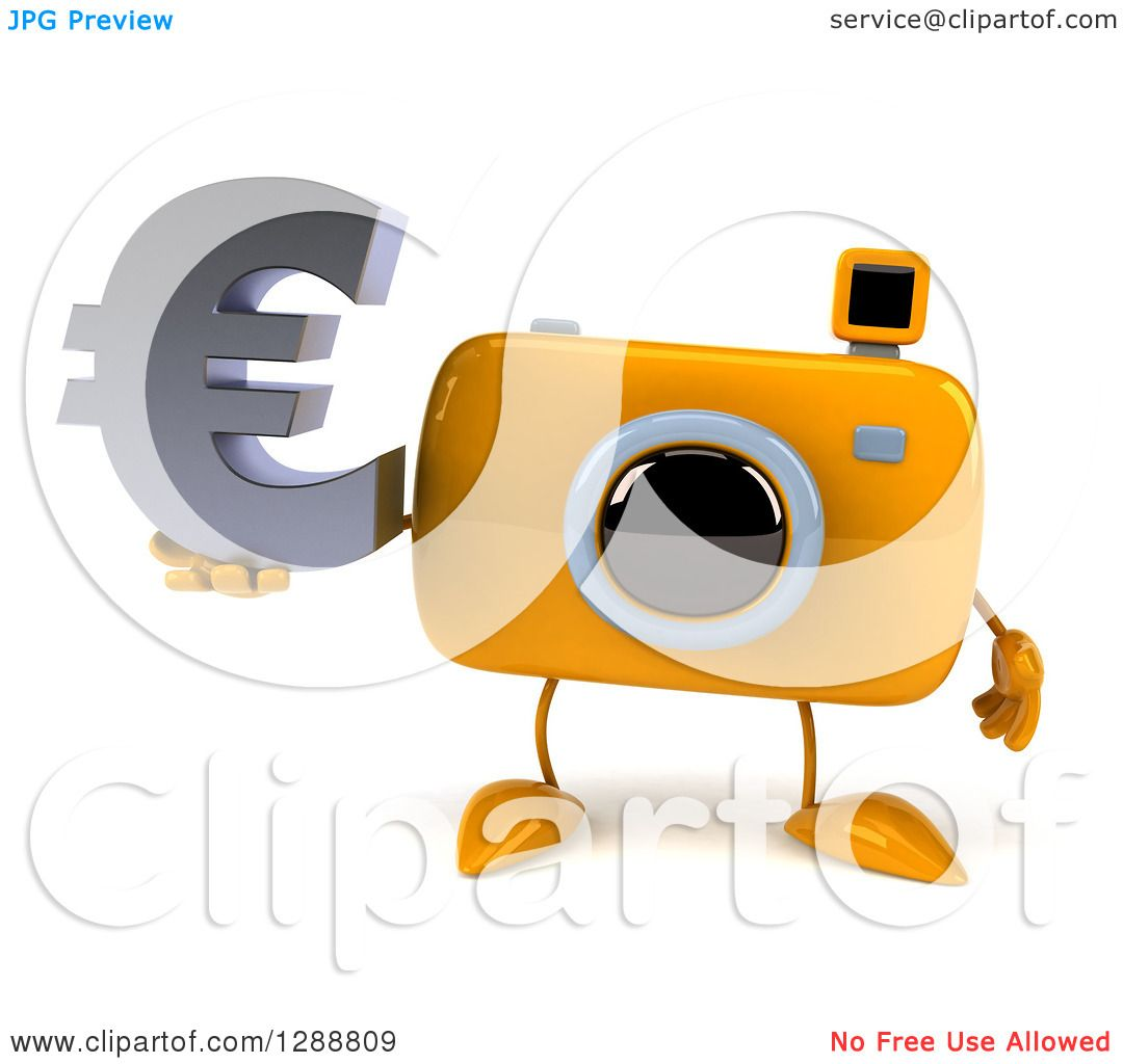 Clipart of a 3d yellow camera character holding a euro currency clipart of a 3d yellow camera character holding a euro currency symbol royalty free illustration by julos biocorpaavc Images