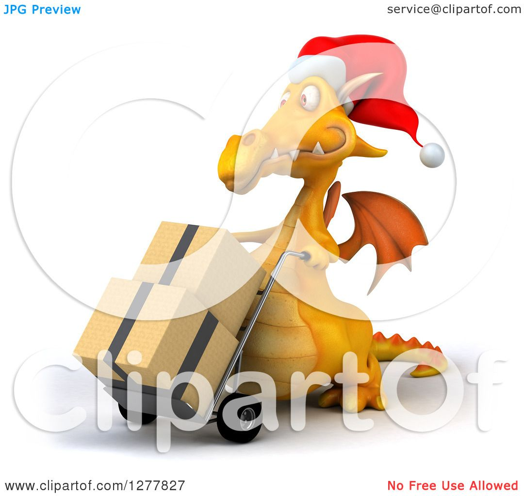 df661fcaaac78 Clipart of a 3d Yellow Christmas Dragon Facing Left and Moving Boxes on a  Dolly - Royalty Free Illustration by Julos