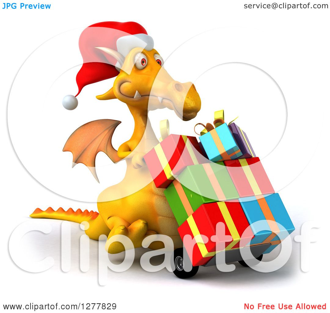 d1b789f6e0479 Clipart of a 3d Yellow Christmas Dragon Facing Right and Moving Gifts on a  Dolly -. Image © 2019 Julos. Royalty free clipart illustration ...