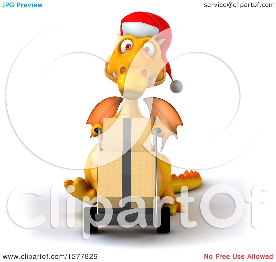 e75ad760500cf Clipart of a 3d Yellow Christmas Dragon Moving Boxes on a Dolly - Royalty  Free Illustration