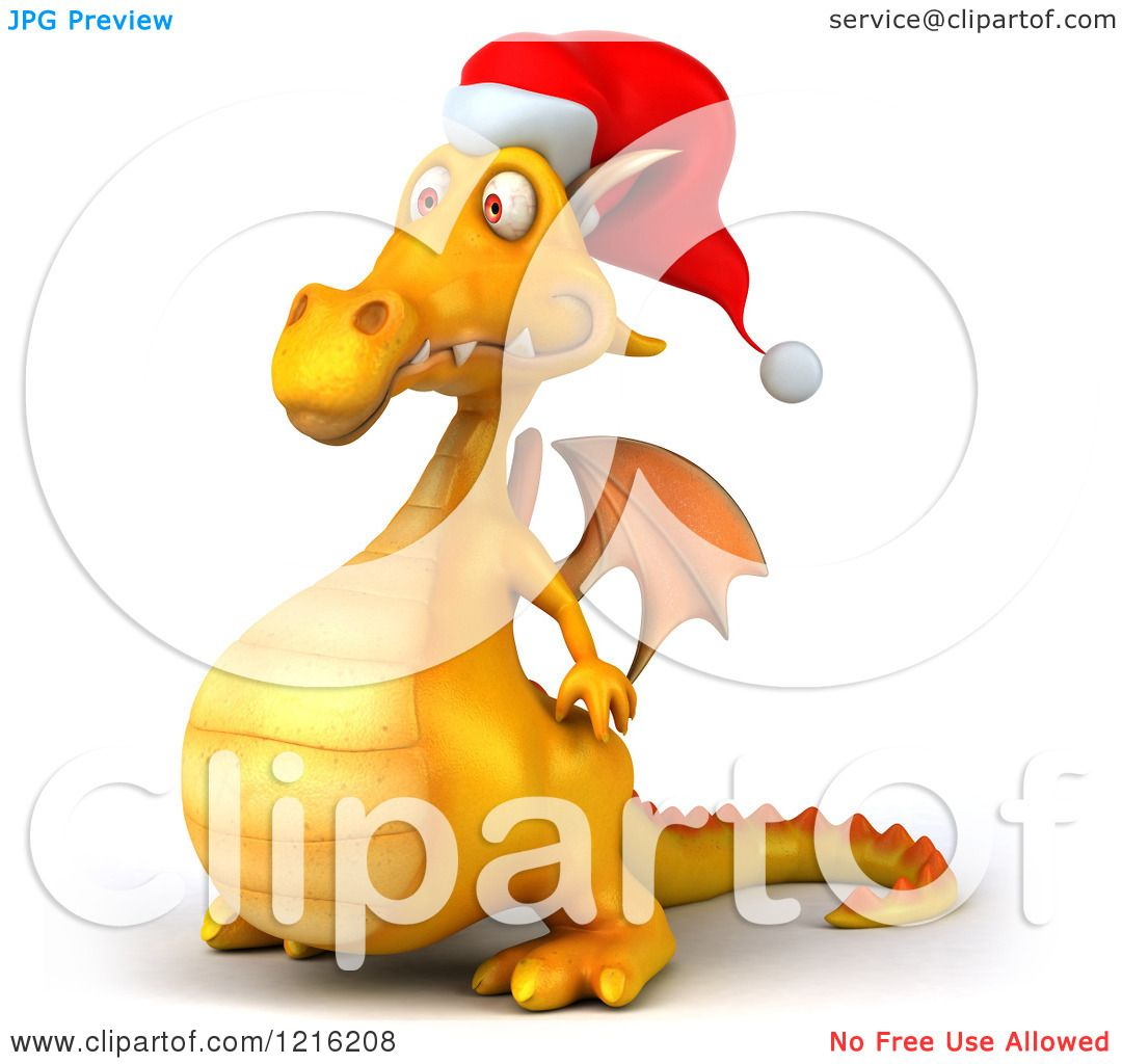 85481e88e192a Clipart of a 3d Yellow Christmas Dragon Wearing a Santa Hat and Facing Left  - Royalty