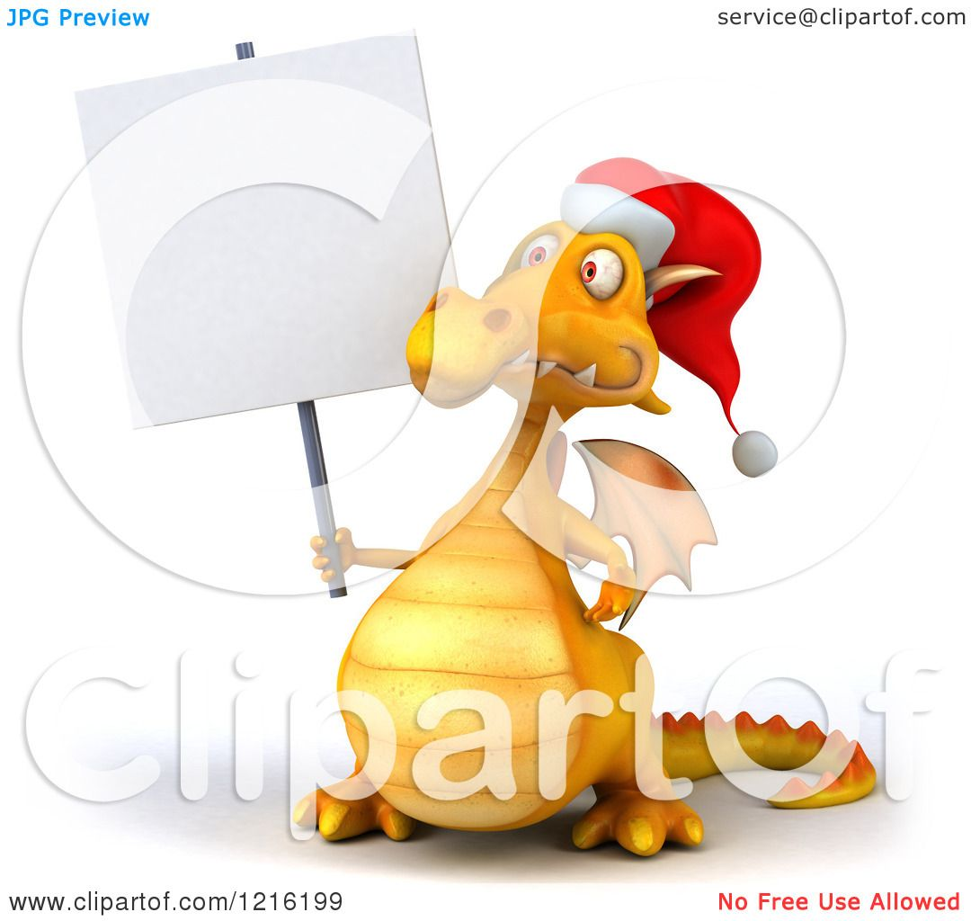 1109aa7339e0c Clipart of a 3d Yellow Christmas Dragon Wearing a Santa Hat and Holding a  Sign -. Image © 2019 Julos. Royalty free clipart illustration ...