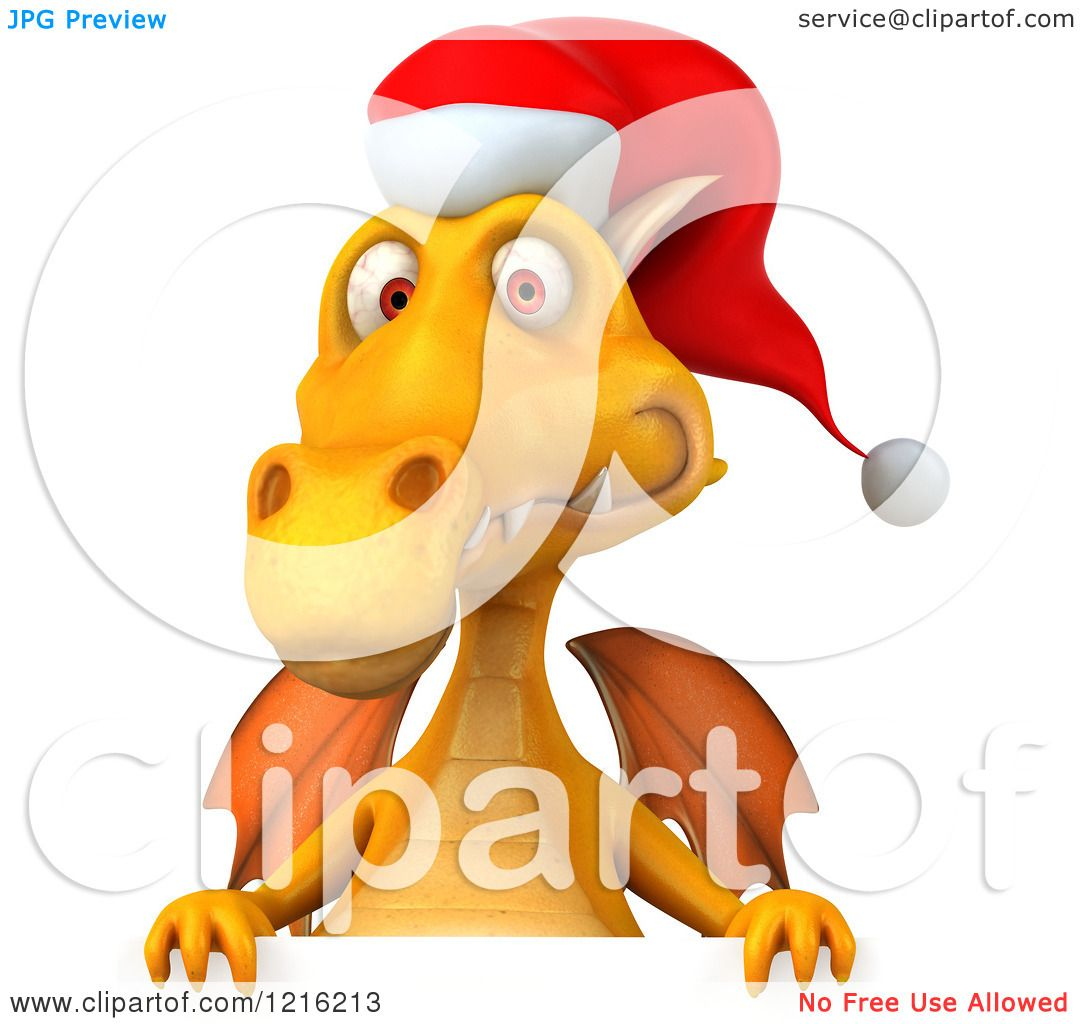 d3afb98b32240 Clipart of a 3d Yellow Christmas Dragon Wearing a Santa Hat over a Sign - Royalty  Free Vector Illustration by Julos