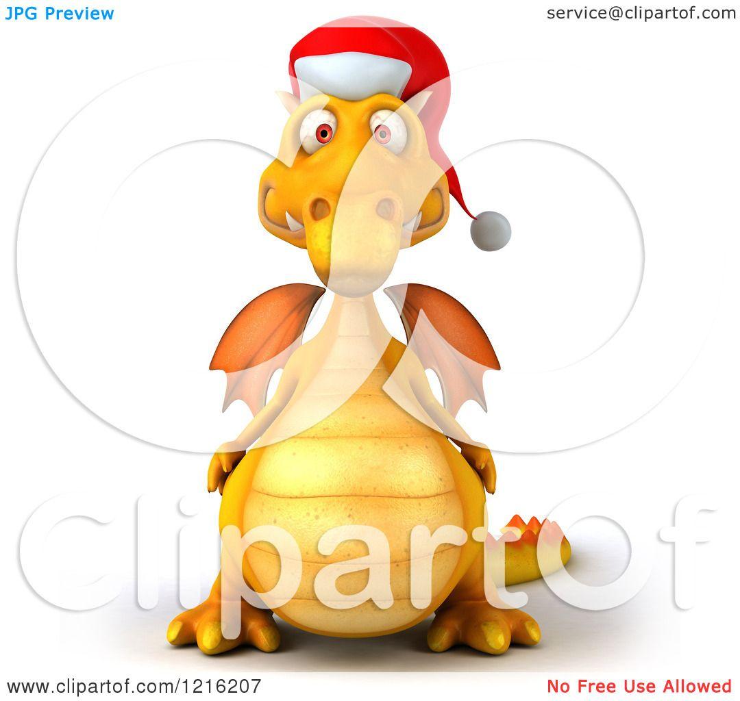 3a2410ad1b047 Clipart of a 3d Yellow Christmas Dragon Wearing a Santa Hat - Royalty Free  Vector Illustration