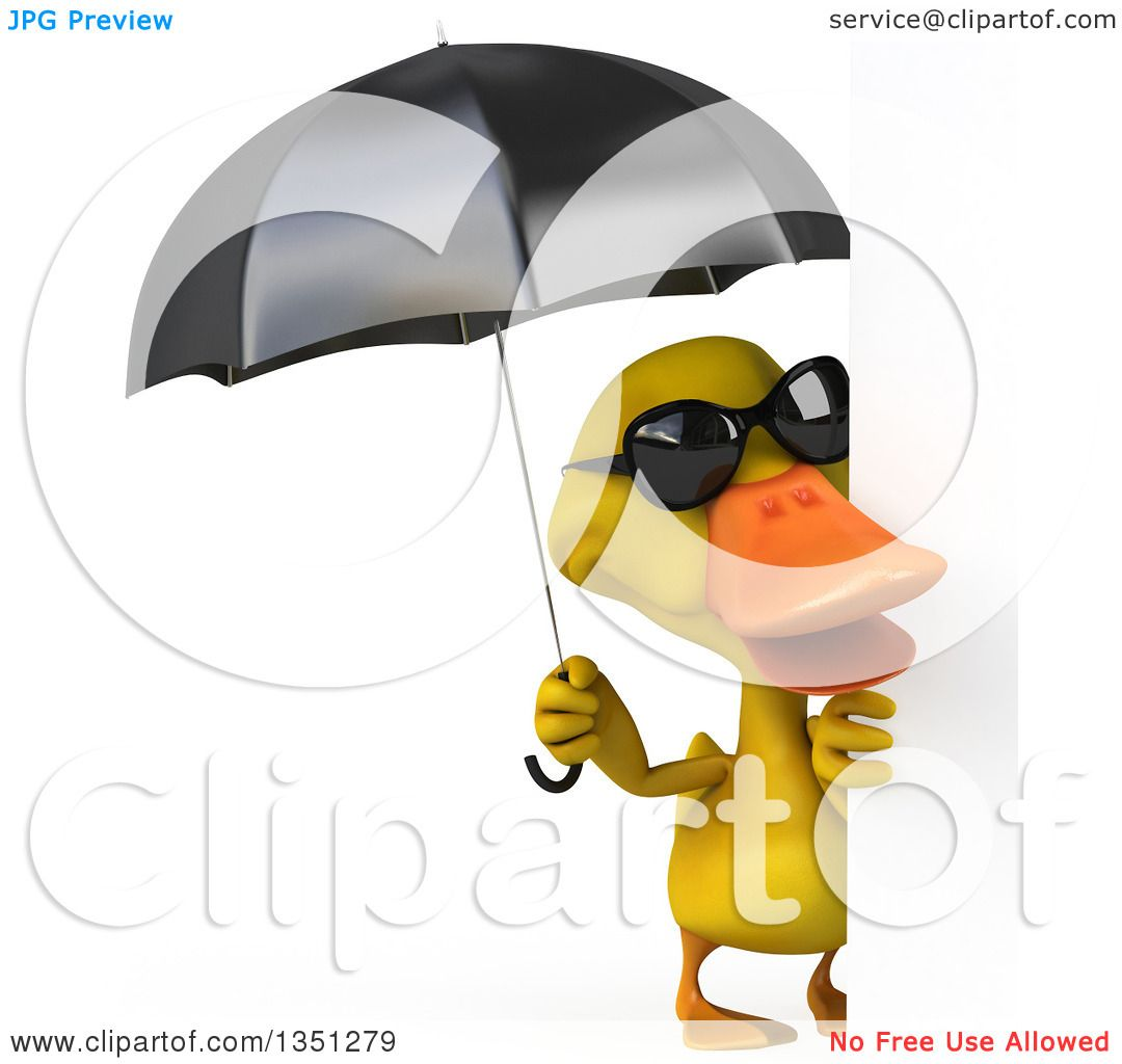 Clipart Of A 3d Yellow Duck Wearing Sunglasses And Holding