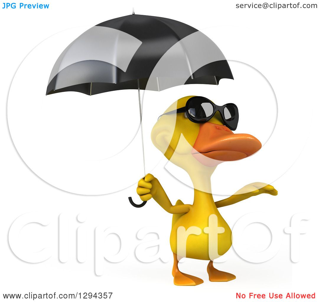 Clipart Of A 3d Yellow Duck Wearing Sunglasses And Reacing