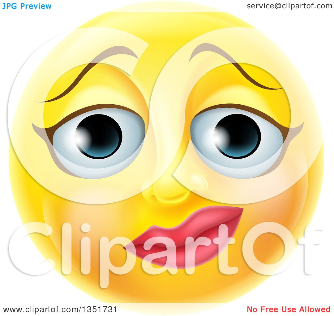 clipart of a 3d yellow female smiley emoji emoticon face with a rh clipartof com Blue Smiley Face Clip Art Yummy Smiley Face Clip Art