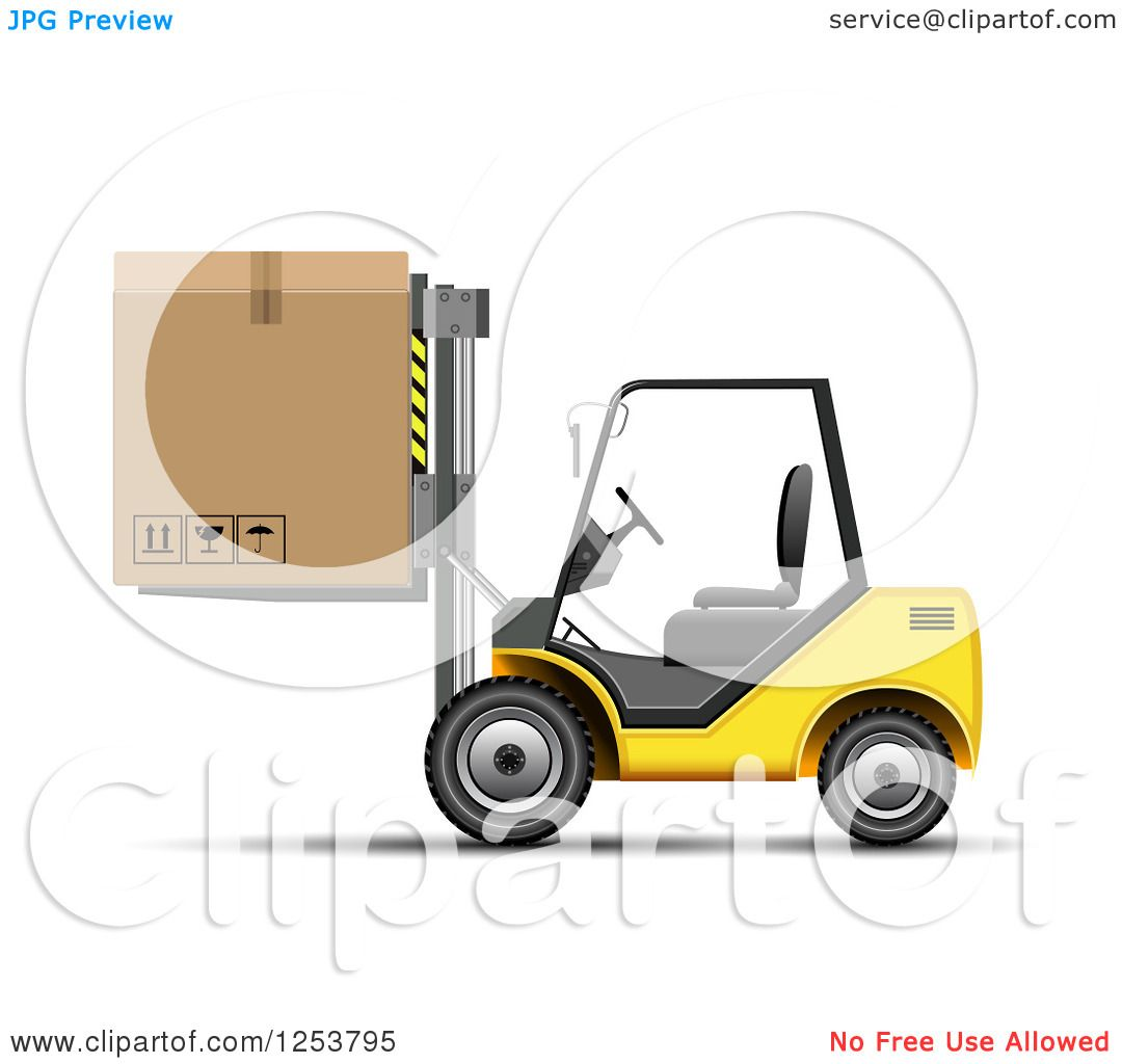 Clipart of a 3d Yellow Forklift Machine Moving a Box ...