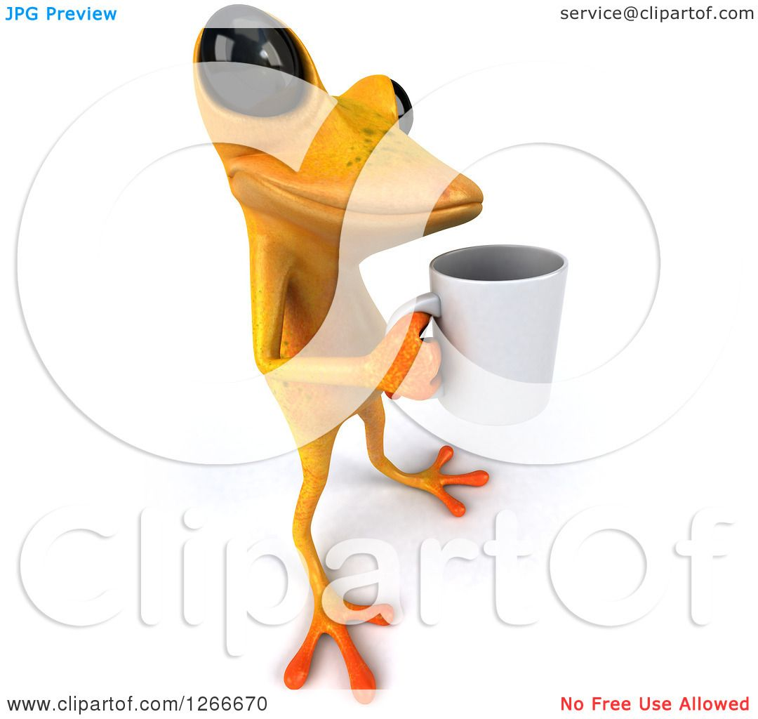 Clipart of a 3d Yellow Frog Standing with a Coffee Cup ...