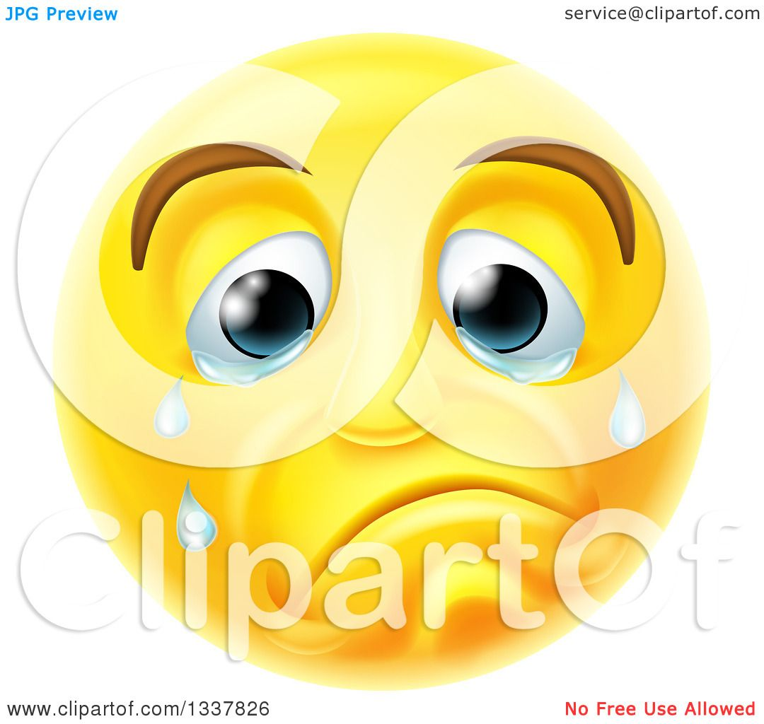 Clipart of a 3d Yellow Smiley Emoji Emoticon Face Crying - Royalty ...