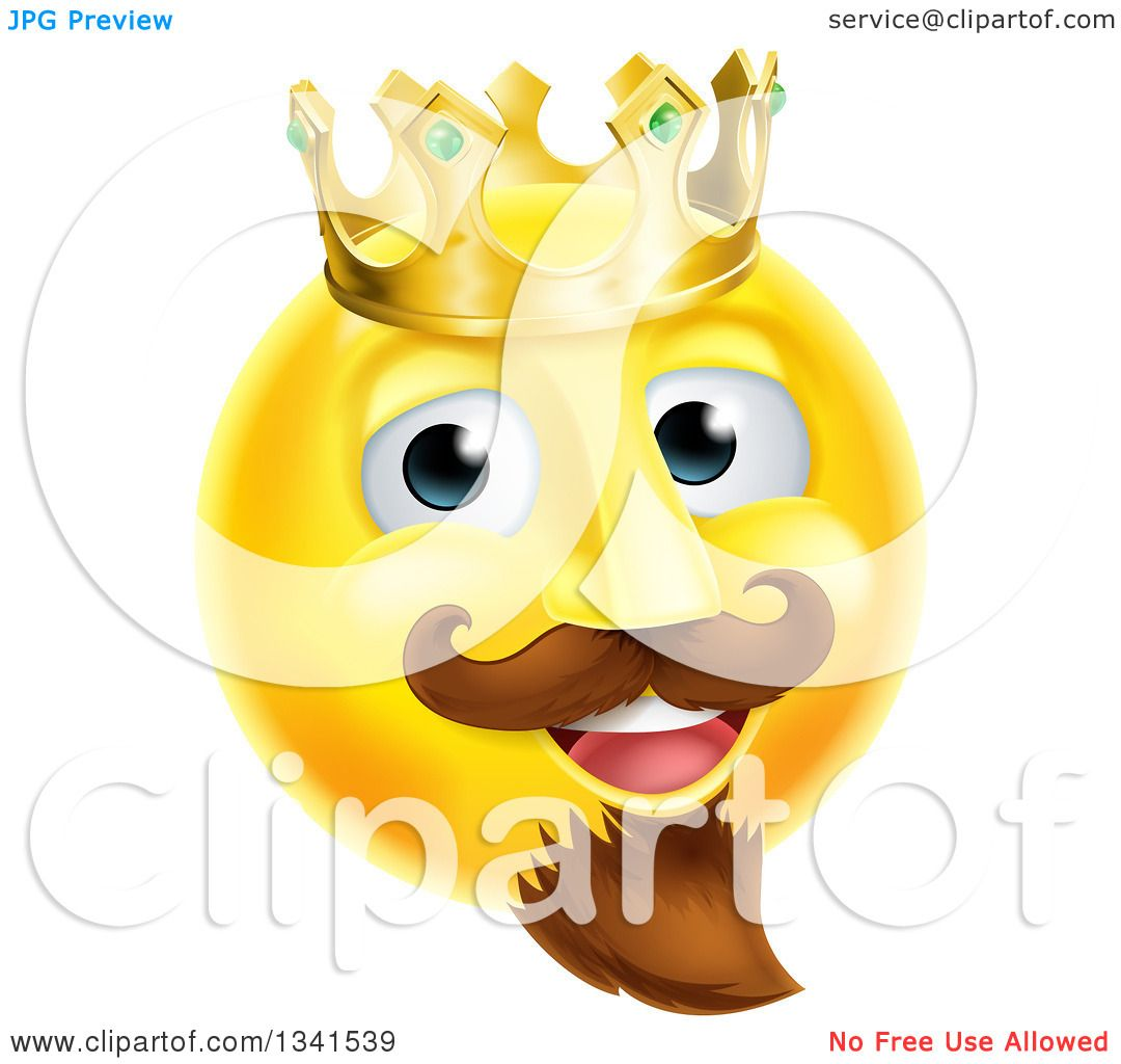 Clipart Of A 3d Yellow Smiley Emoji Emoticon Face King