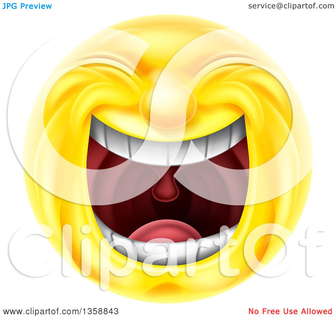 Clipart of a 3d Yellow Smiley Emoji Emoticon Face Laughing ...
