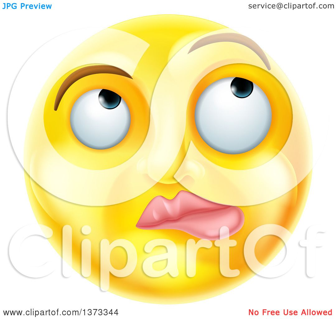 clipart of a 3d yellow smiley emoji emoticon face thinking royalty rh clipartof com Confused Smiley Face Clip Art Dancing Smiley Face Clip Art