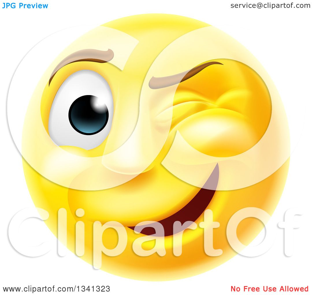 Free Winking Smiley Face Clip Art Illustration