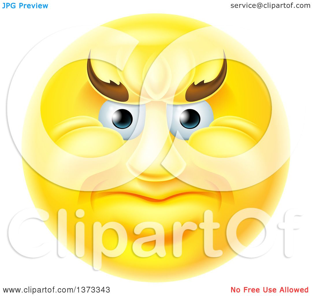 Clipart of a 3d Yellow Smiley Emoji Emoticon Face with an Angry Expression