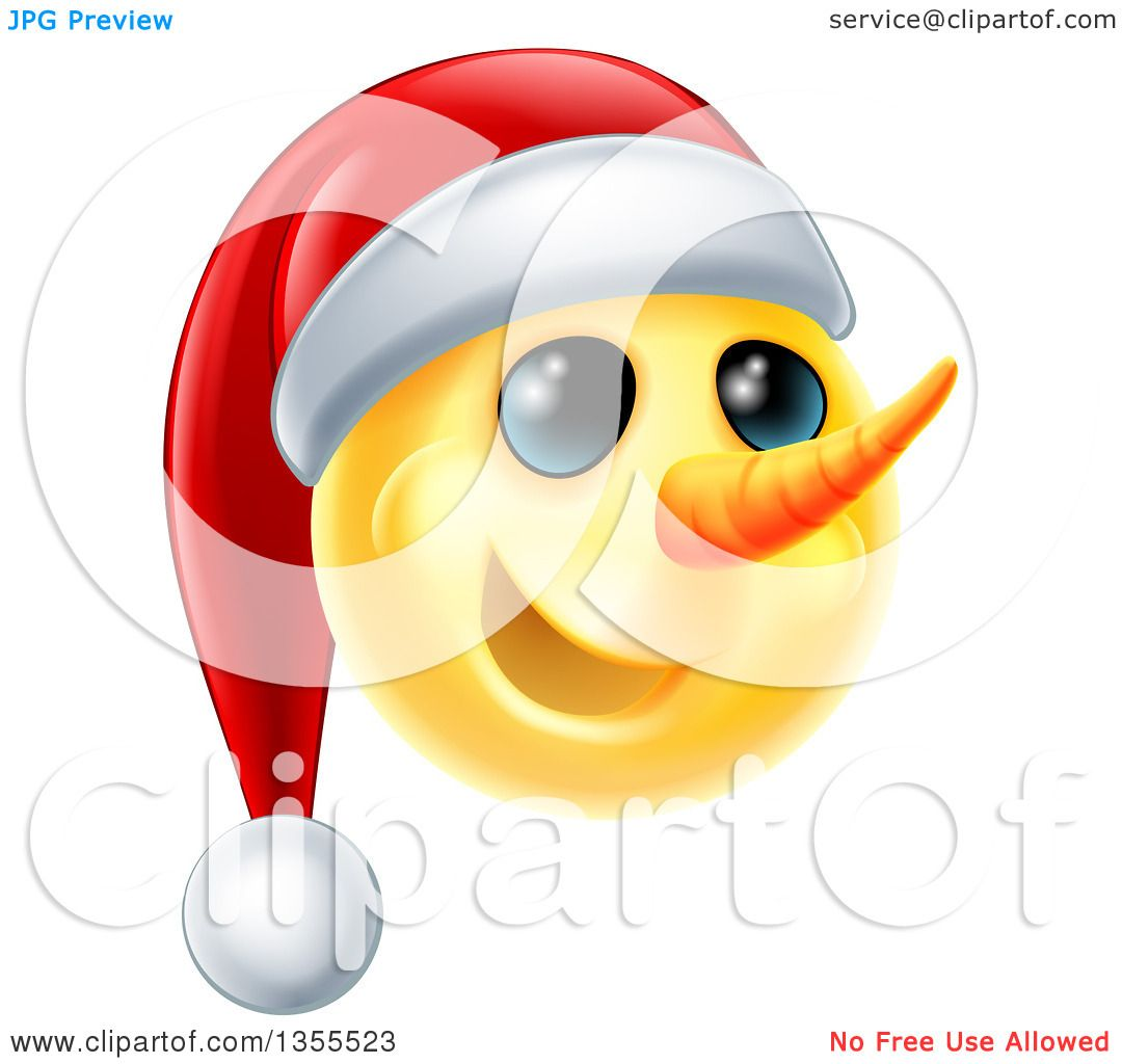 Clipart of a d yellow snowman smiley emoji emoticon