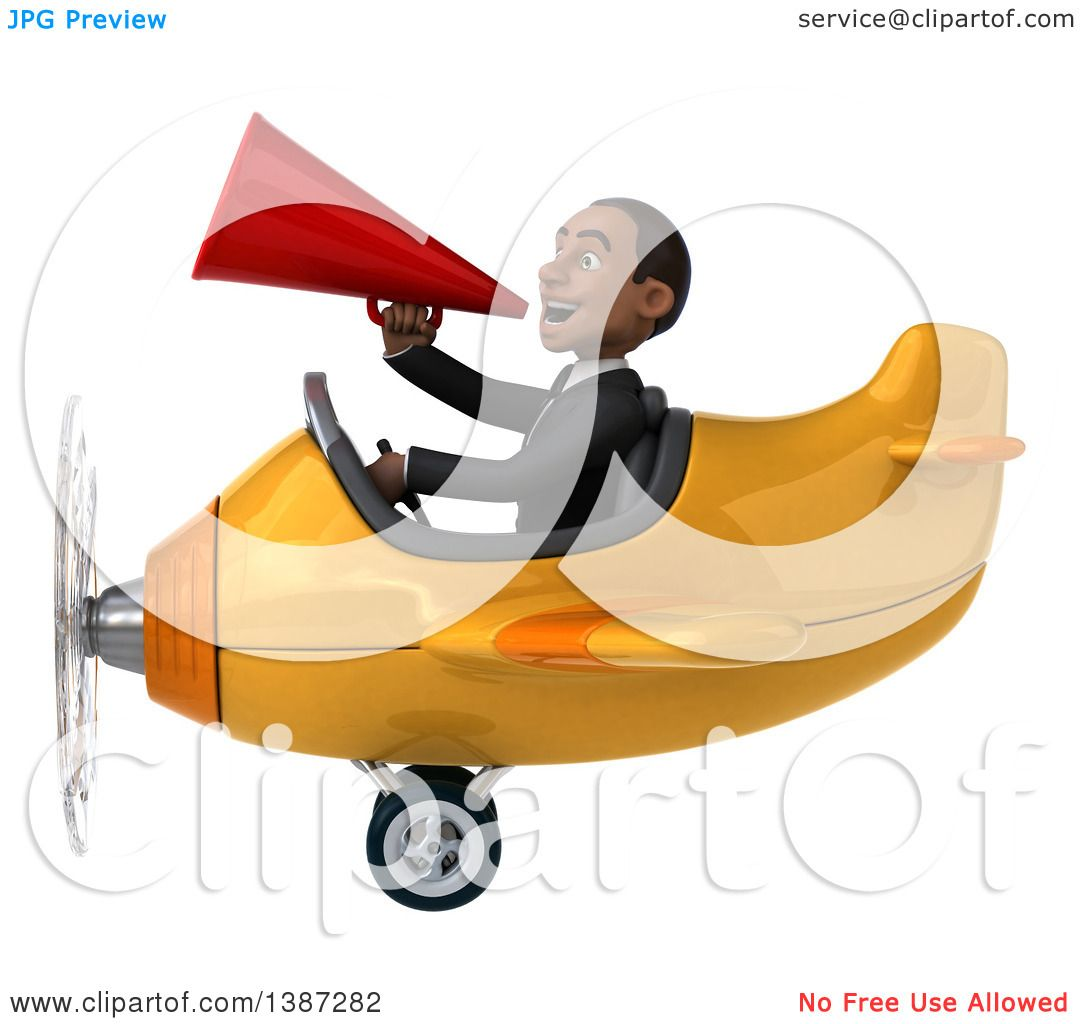 Clipart of a 3d Young Black Business Man Flying a Plane, on a ...