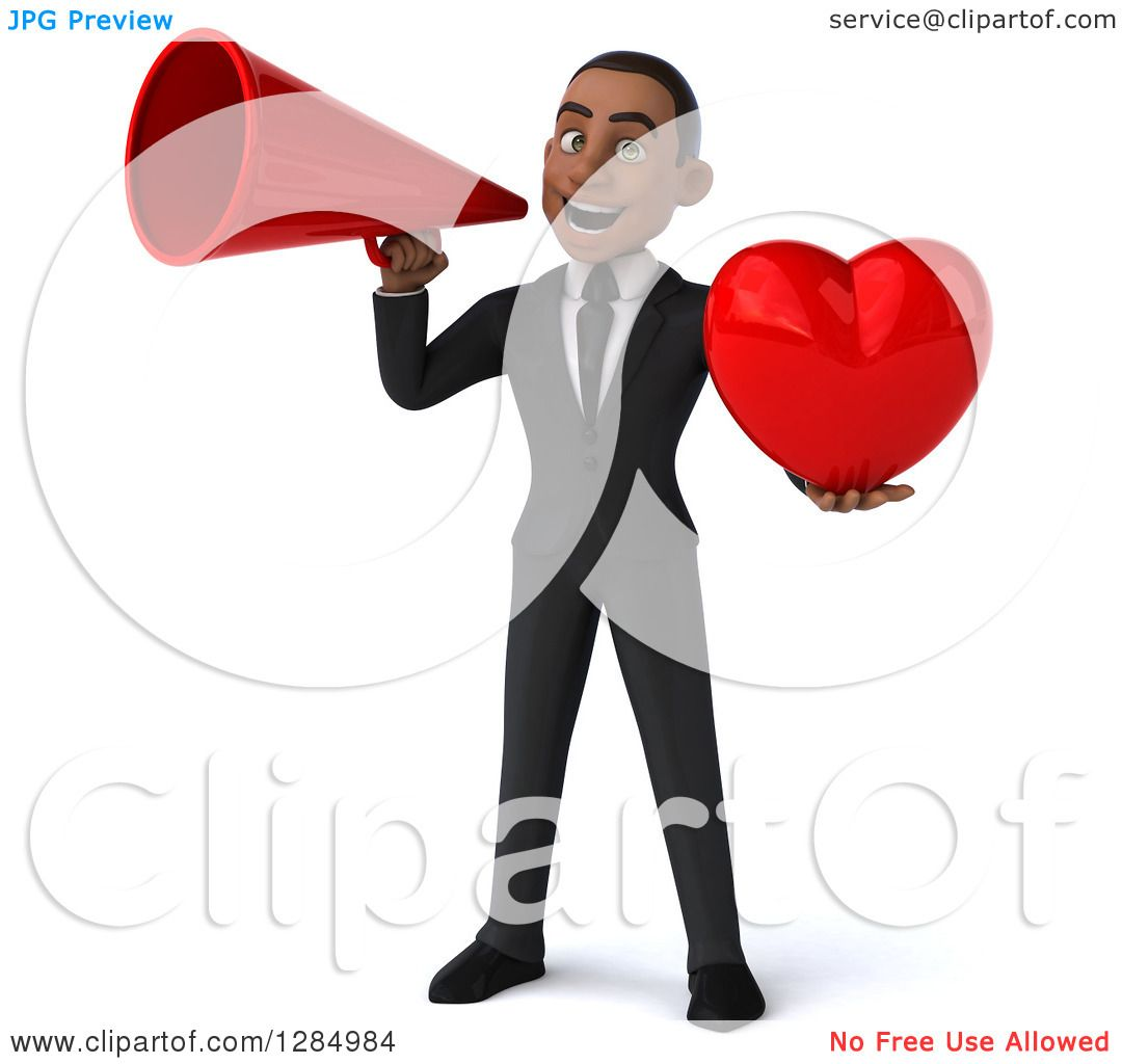 Clipart of a 3d Young Black Businessman Announcing with a ...