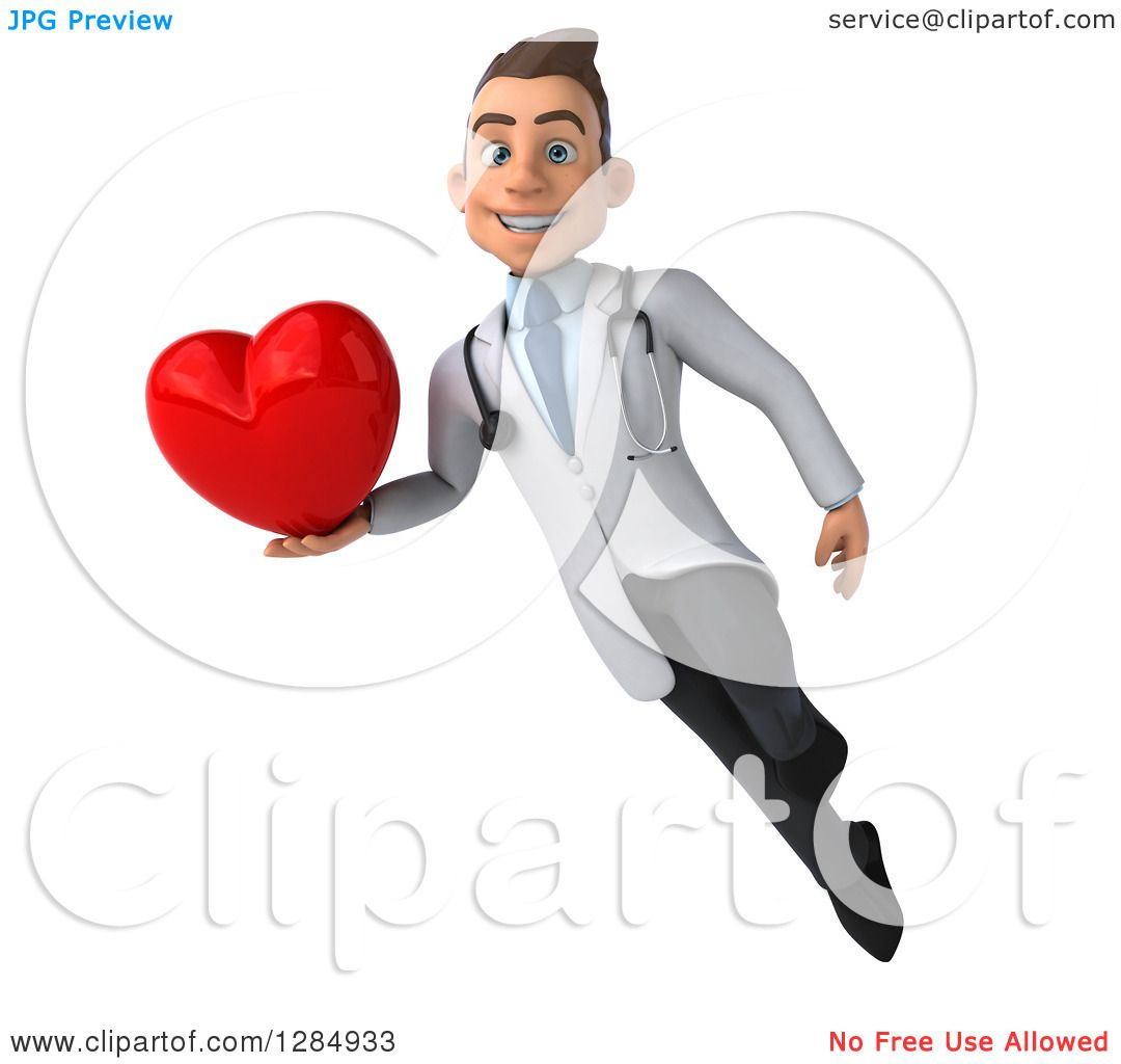 Clipart of a 3d Young Brunette White Male Doctor Flying ...
