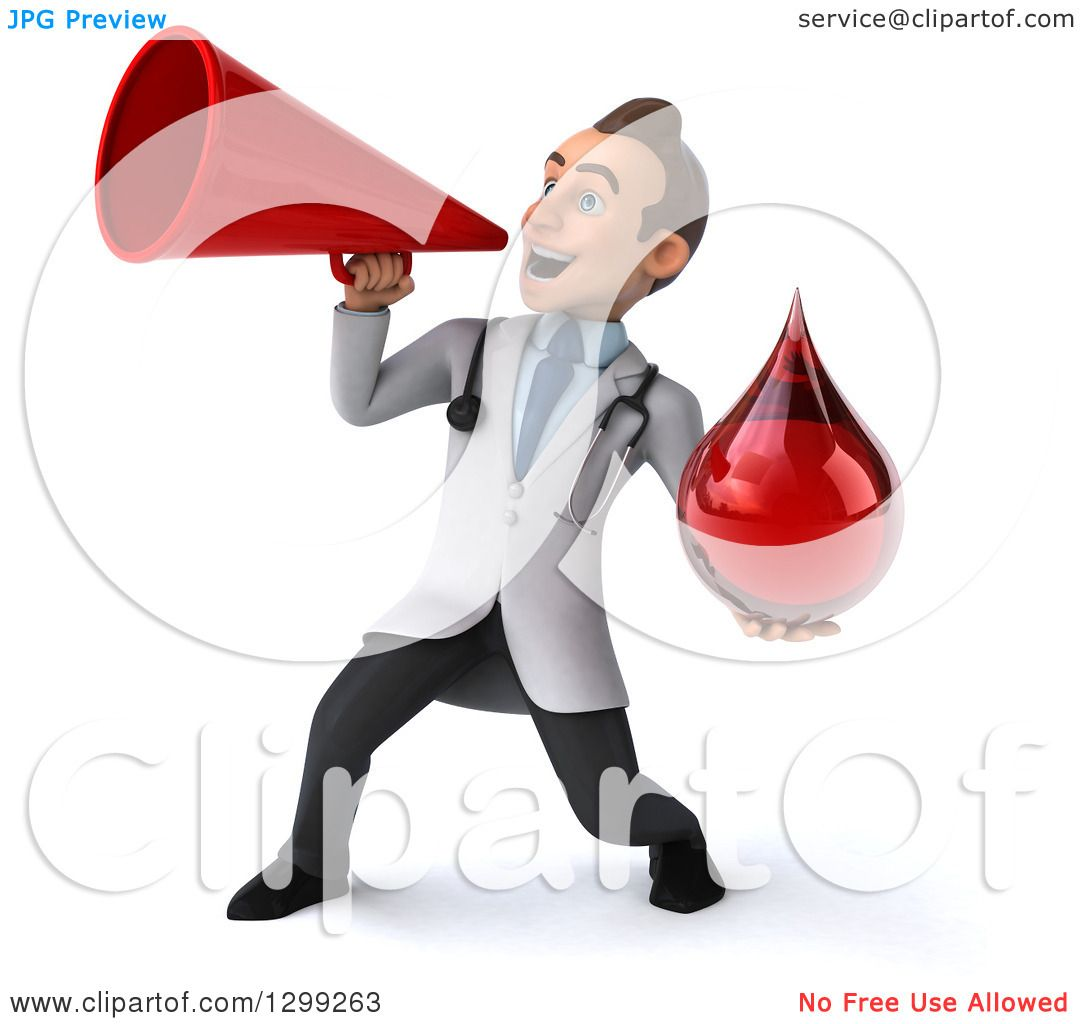Clipart Of A 3d Young Brunette White Male Phlebotomist