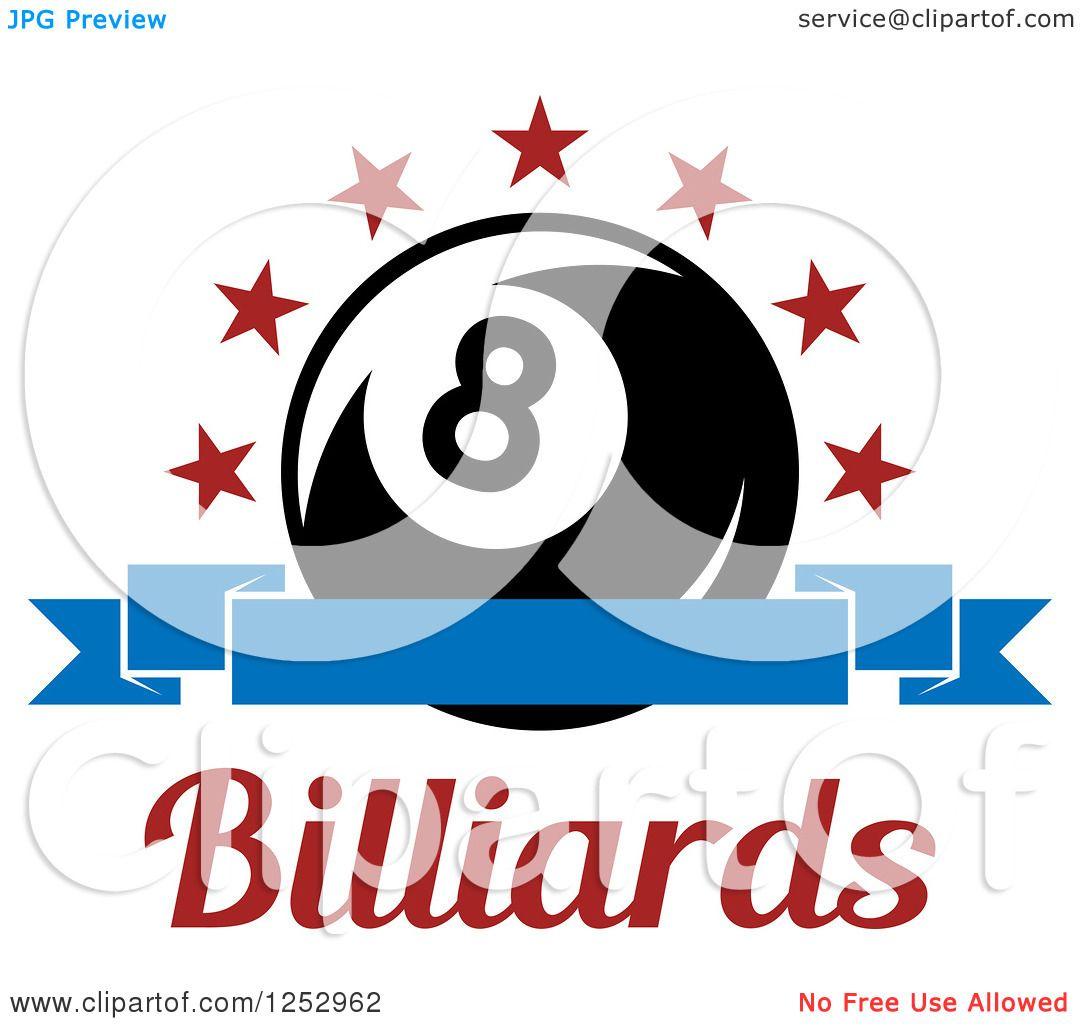 Clipart of a Arch of Stars and Banner over an Eight Ball ...