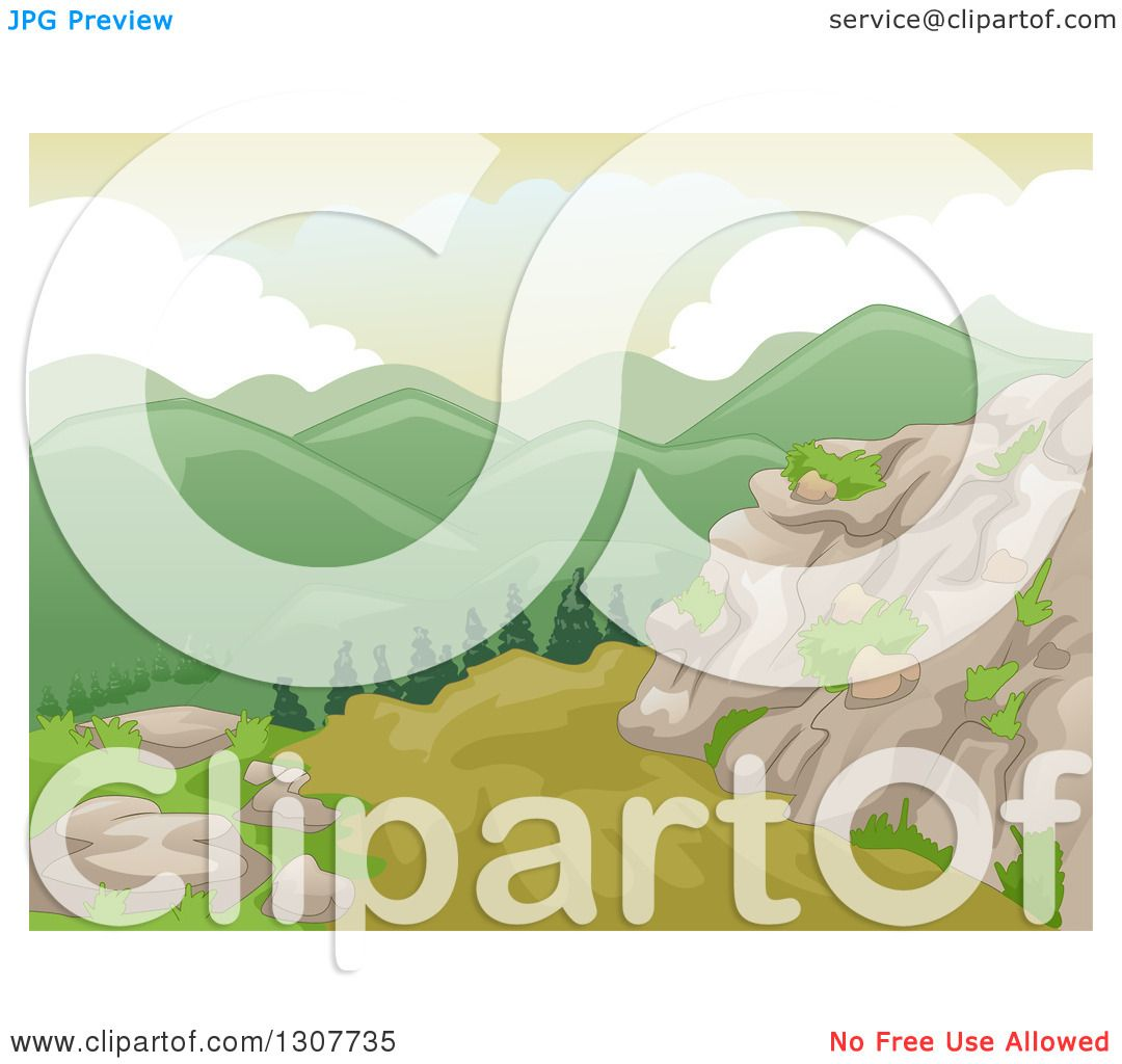 Clipart Of A Backdrop Of Scenic Mountains And Boulders